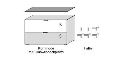 Kommode in schwarz und schwarzem Glas, schwarze Stoffklappe u. 1 Schubkasten, Maße: B/H/T ca. 109/66/50 cm, Füße, H: ca. 9 cm u. Glas-Abdeckplatte - 2