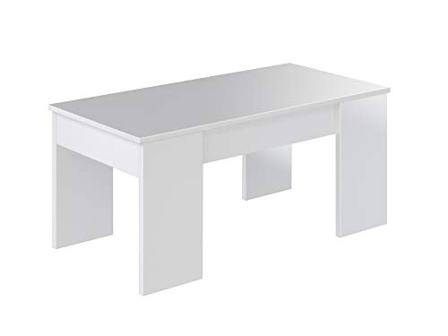 Movian - Table basse avec plateau relevable Aggol Modern, 50 x 100 x 44, Blanc