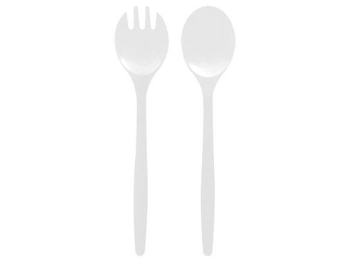 Zak Designs 1313-350 Twins Couverts à Salade 32 cm Blanc