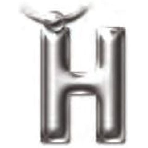 Portachiavi in metallo solido con lettera dell'alfabeto H in rilievo