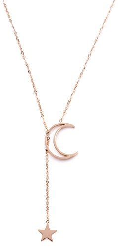 Happiness Boutique Damas Collar de Lazo con Estrella y Luna en Oro Rosa | Collar de Colgante Y con Diseño de Media Luna