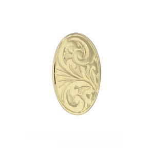 Pince à cravate 12x8mm en Or Jaune 9ct - 375/1000 de forme ovale et gravée à la main