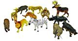 ~ 12 ~ Zoo Safari Animal Figures ~ 3 - 4.5 ~ Hard Plastic ~ New by Rhode Island Novelty