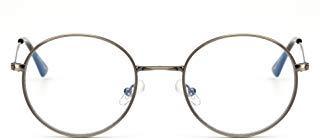 Anti Blaues Licht Rund Lesebrille Vintage Metall Kreis Rahmen Computer Gaming Brillen für Damen Herren(Silber/Klar)