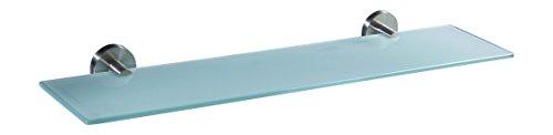 Ambrosya® | Exklusive Ablage aus Edelstahl und Glas | Bad Badablage Badezimmer Badregal Glasablage Glasregal Halter Halterung Handtuch Handtuchhalter Wandregal (Edelstahl (Gebürstet), 50 cm x 12 cm)