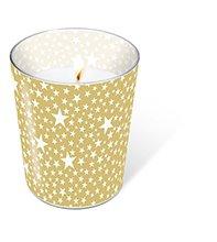1 Kerze Glaskerze Starlets gold Höhe 10 cm, dm 8,5 cm