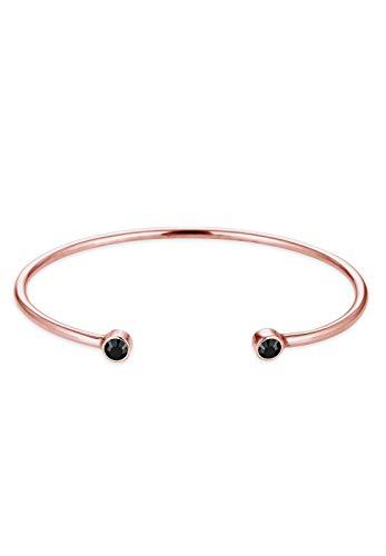 Elli Damen Schmuck Armband Armreif Trend Geo Funkelnd Glamour Silber 925 Rosé Vergoldet Swarovski® Kristalle Schwarz Länge 17 cm