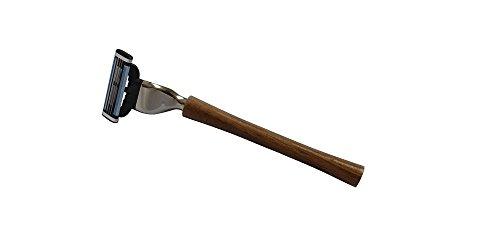 Nassrasierer aus Nussbaum mit Gillette® Mach3®-Rasierklinge von RAZURO