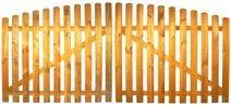 StaketenTor 'Standard' 300x 120/140 cm - oben - kdi / V2A Edelstahl Schrauben verschraubt - aus frischem Holz gehobelt - nach oben gebogene Ausführung - kesseldruckimprägniert