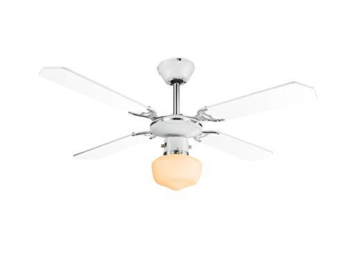 Luxus Decken Raum Kühler Ventilator Wohnraum Loft Beleuchtung Glas 3-Stufen E27 Globo 03300