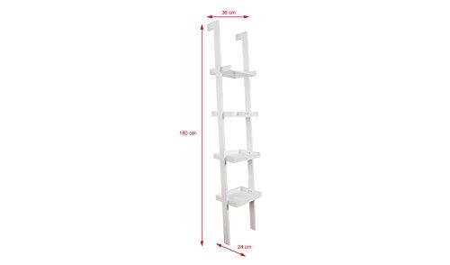 Ladder Leaning Bookshelf, Wooden with White Paint Finish, 4 Tiers – Sennen Range by Elegant Brands