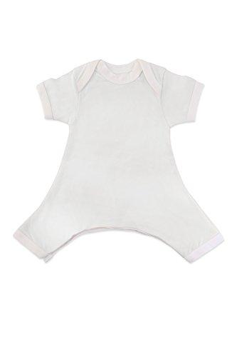 Hip-Pose Baby-Strampler / Strampelanzug mit kurzen Ärmeln für Spreizhose und Gipshosen für Neugeborene 0 - 3 Monate, weiß
