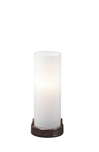 Trio Leuchten On/Off LED-Touch-Tischleuchte rostfarbig antik, Glas, weiß matt 574090128
