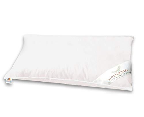 Klosterdorf Bettenmanufaktur Premium Bauchschläferkissen | 40x80 cm | 180 Gramm | Handarbeit aus Deutschland | Seitenschläferkissen Schwangerschaftskissen | Für einen gesunden Schlaf