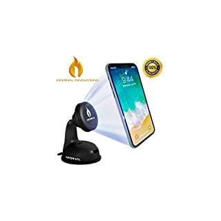 Magnetic Phone Mount | Car Phone Holder Windshield and Dashboard | Mobile Phone Car Mount | 75mm Adhesive Disk Included |Strong Suction Gel | For iPhone X, 8, 7, 6 and Plus | Google Pixel 2 | Samsung Galaxy Note 8, S7 | OnePlus 5 | LG V30