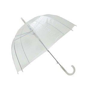 Transparenter / Durchsichtiger Regenschirm mit weißem Griff / Hochzeitsschirm