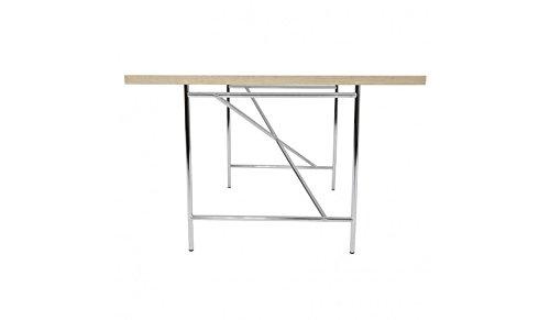 Preisvergleich Produktbild Kinderschreibtisch Schreibtisch 120 x 70 cm Eiermann Tischplatte weiß Gestell silber von Richard Lampert