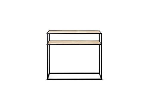 LIFA LIVING Konsolentisch mit 2 Böden | Stabiler Beistelltisch aus Holz & Metall | Regal für Wohnzimmer, Flur, Schlafzimmer | 100 x 30 x 85 cm - Schlafzimmer Metall Beistelltisch
