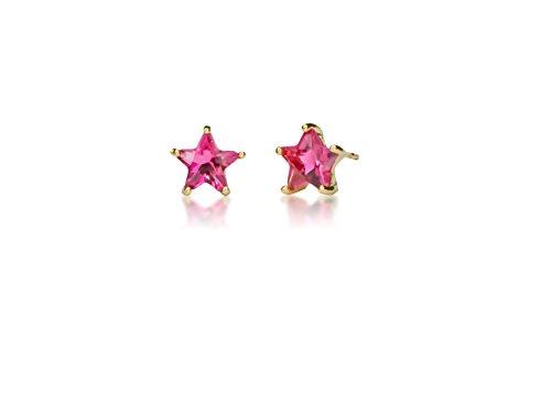 Bijoux Fashion en acier chirurgical en forme de Star boucles d'oreilles Pierre de naissance pour fille October Gold Plated