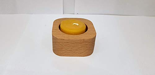 Teelichthalter, abgerundete Ecken 1-fach, Handarbeit aus heimischer Buche