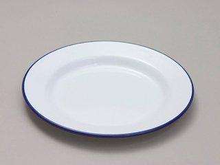Genware 45020 Emaille-Teller mit breitem Rand, 20cm, Weiß/Blau Plate Wide Rim