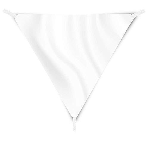 Eglemtek tenda triangolare a vela telo da sole da esterno protezione solare da raggi uv completo di funi per ancoraggio disponibile in vari colori e misure (3.6x3.6x3.6 m, bianco)