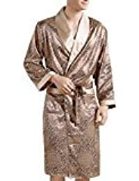 EDTara Men's Comfortable 100% Silk Satin Robe Bathrobe Luxury Sleepwear Loungewear Gold Asia XL