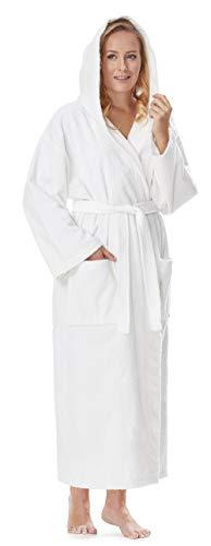 Arus Bademantel-Astra, für Damen und Herren mit Kapuze, knöchellang, 100% Flauschige Baumwolle Frottee, auch als Hausmantel Morgenmantel Saunamantel Größe: S/M Lang, Farbe: Weiß -