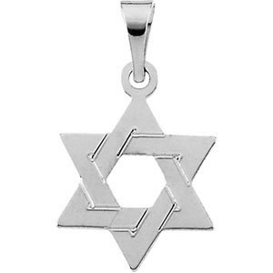14ct White Gold Star Of David Pendant