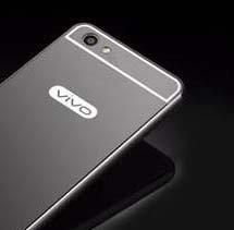 CEDO Premium Luxury Metal Bumper Acrylic Mirror Back Cover Case For Vivo Y55 / Y55L - Black