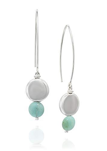Damen 925 Sterling Silber Amazonit Edelstein Lange Draht Einfädler Ohrringe mit runden Silberperlen (Designer Ohrringe)