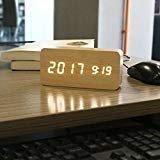 PiLife Despertador de Alarma Digital de Madera, Pantalla LED, Pantalla de Temperatura de Brillo Ajustable, Pantalla de Calendario de Control de Sonido/Voz, Carga USB - Marrón
