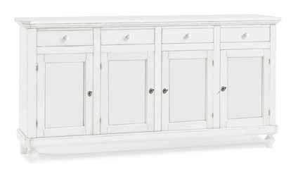 Inhouse srls credenza 4 porte, arte povera, in legno massello e mdf con rifinitura in bianco opaco- mis. 196x43x98h