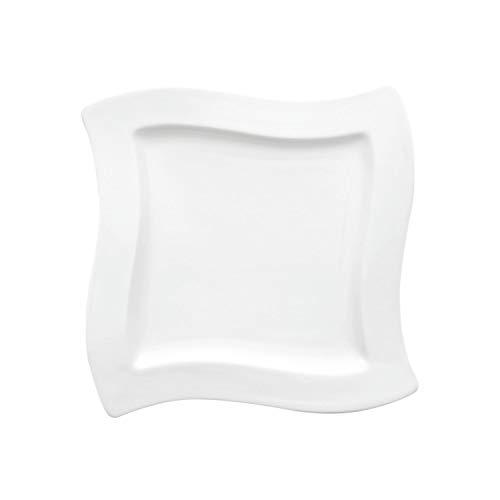 Villeroy & Boch NewWave Quadratischer Frühstücksteller, 24 x 24 cm, Premium Porzellan, Weiß Villeroy Und Boch New Wave