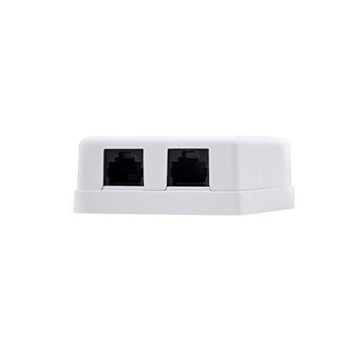 NANOCABLE 10.21.1502 - Roseta de superficie RJ45 con 2 toma de conexión Cat.6 UTP, blanco