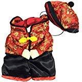 SELMAI Chinese New Year Dog Kostüm mit Mütze Jacke Fleece gefüttert Winter, für Kleine Hund Katze Puppy, S, Rot
