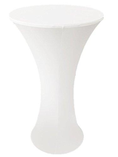 lilionlineshop Stehtischhusse für Tische mit runder Fußplatte Stretch Tischhusse Tischdecke Bistrotisch Hussen Hochzeit Party Größen 60 cm (Weiß)