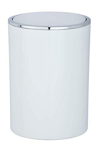 WENKO Schwingdeckeleimer Inca, Abfallbehälter mit Schwingdeckel Fassungsvermögen: 5 l, Ø18.5 x 25.5 weiß