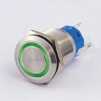 Blanko 207064 Metalltaster mit Ringbeleuchtung Schliesser, 1x Öffner, Grün, 19mm