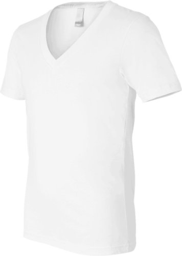 Bella+Canvas: Unisex Jersey Deep V-Neck T-Shirt 3105 White