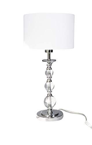 TISCHLEUCHTE PANDORA weiß/zeitloses Design/eleganter Stoffschirm/Tischlampe - Stoffschirm Glas