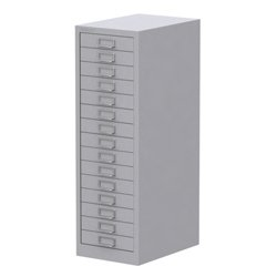Best Bisley 15 Drawer Cabinet Grey All-steel construction with chrome plated D-ring handles and index card holder 532535 Discount