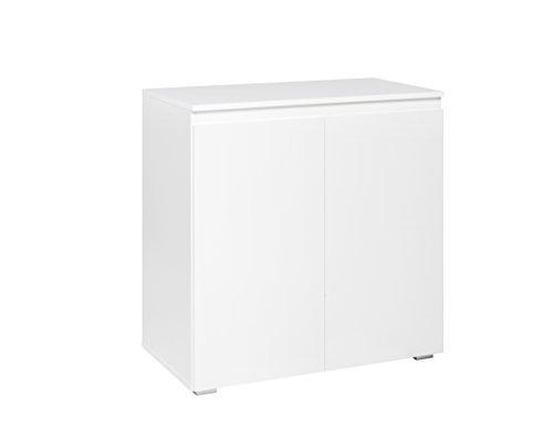 Kommode (B/H/T: 80 x 80 x 40 cm) griffloses Design, weiß matt