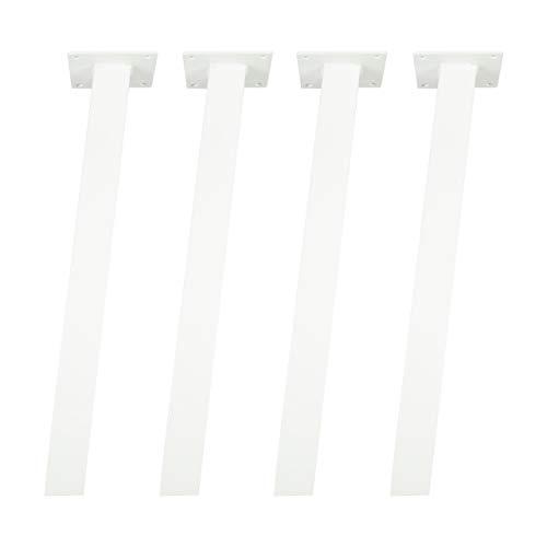 4x Natural Goods Berlin STANDARD Legs eckige Metall Tischbeine massiv | quadratisch 50 x 50mm Profil | pulverbeschichtet und stabil | 5mm Grundplatte | DIY Möbelfüße (72cm (Schreib-/Esstisch), Weiß) - Quadratische Metall-tischbeine