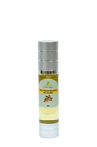 Huile d'argan cosmétique flacon argenté 50 ml/pressée à froid hydratante anti-âge pour visage, cheveux, corps ongles, Certifiée 100% BIO ECOCERT