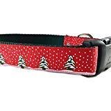 caninedesign Qualität Halsbänder Hundehalsband, Weihnachten, caninedesign, Bäume, Rot, grün, 2,5cm Breit, Verstellbar, Nylon, mittelgroß und groß (Rot, groß 15-22)