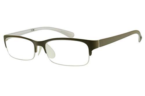 Lesebrillen Halbrahmen Saharabeige eckig breite Bügel unten rahmenlos randlos Damen Herren leicht modern schmal flach Kunststoff langer Bügel mit Brillenetui, Dioptrien:Dioptrien 3.0