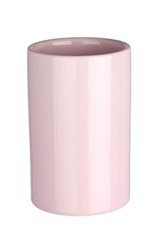 Wenko 22422100  Polaris Pastel Rose Zahnputzbecher-/ Zahnbürstenhalter, für Zahnbürste und Zahnpasta, Keramik, 7 x 11 x 7 cm, Rosa -
