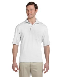 Adult 5.6 oz., SpotShield� Pocket Jersey Polo WHITE 4XL (Adult Jersey Polo Jerzees)