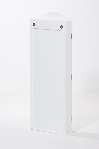 CLP Schmuckschrank SUAREZ mit Spiegel | Spiegelschrank mit Haken für Ketten und Steckplätzen für Ringe Weiß - 8